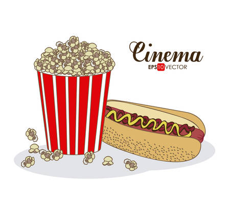 fresh pop corn: Cinema Food digital design, vector illustration eps 10