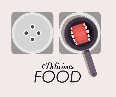 c�telette de porc: conception num�rique de l'Alimentation, illustration vectorielle eps 10
