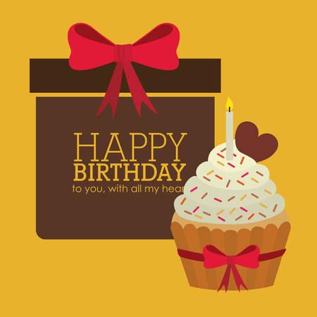 happy birthday heart shapes: Happy Birthday design, vector illustration eps 10