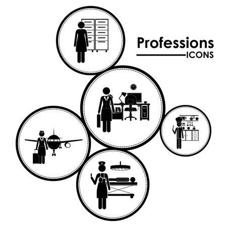 profesiones: Profesiones diseño digital Vectores
