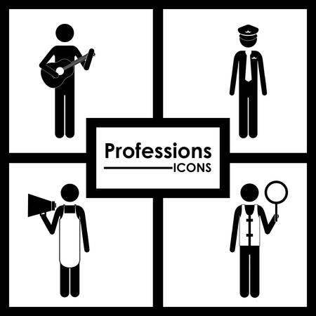 professions: Profesiones dise�o digital, ilustraci�n vectorial