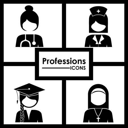 profesiones: Profesiones dise�o digital, ilustraci�n vectorial