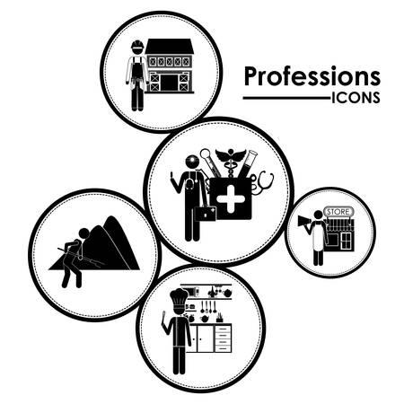 Professions digital design, vector illustration