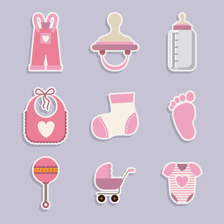 teteros: Baby shower dise�o digital, ilustraci�n vectorial eps 10