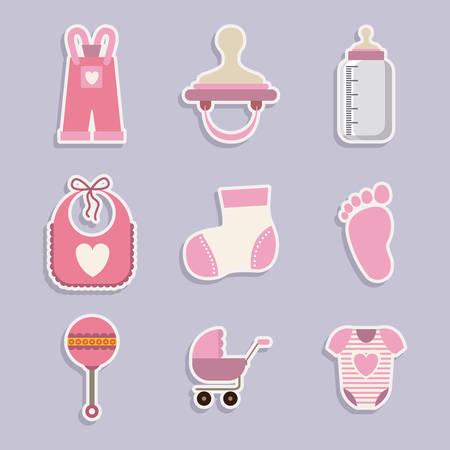teteros: Baby shower diseño digital, ilustración vectorial eps 10