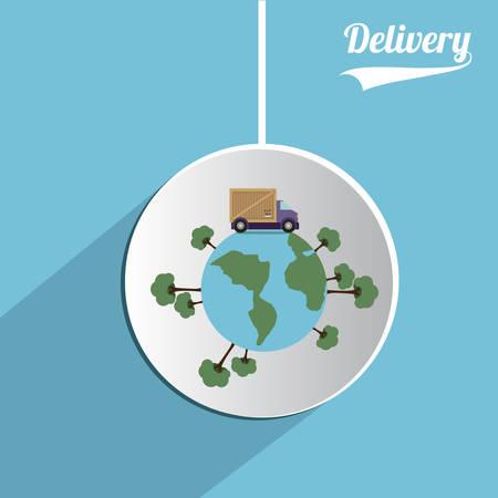 commercial tree service: Delivery digital design, vector illustration   Illustration