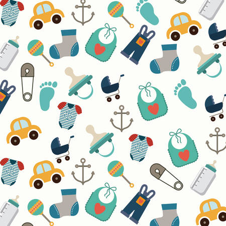 fun background: Baby Shower digital design, vector illustration