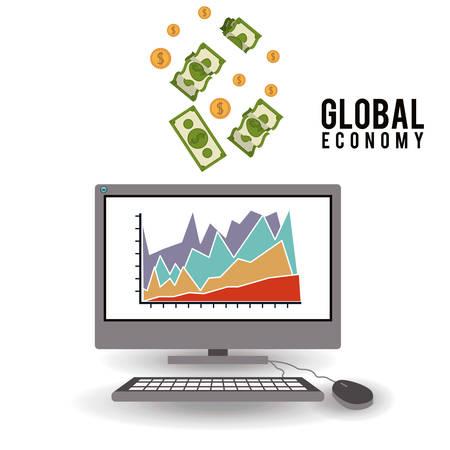 fund world: Global Economy digital design, vector illustration