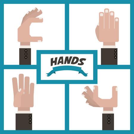 using senses: Hands digital design, vector illustration