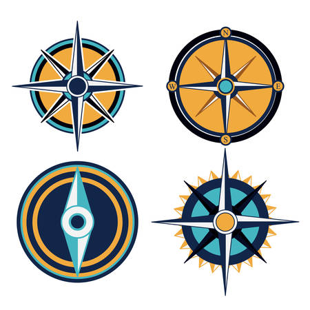 wind rose: Compass digital design, vector illustration