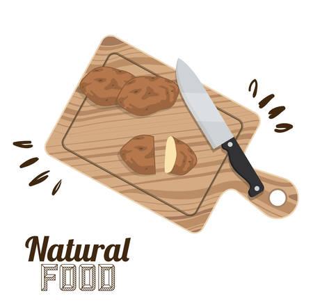 alimentacion natural: Alimento natural con el dise�o de los cubiertos, ilustraci�n vectorial eps 10