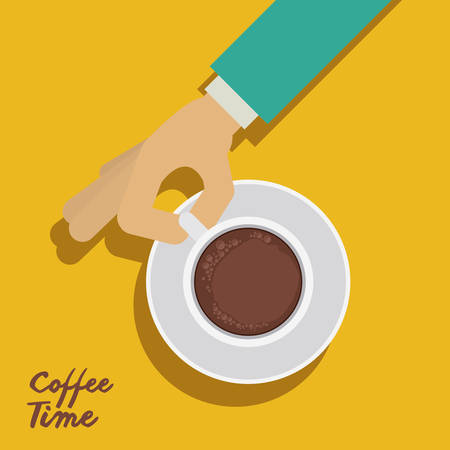 hot cup: Coffee design with human hand, vector illustration eps 10