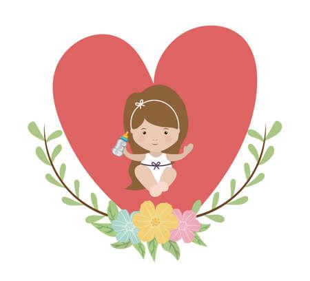 fun background: baby shower design over white background, vector illustration Stock Photo