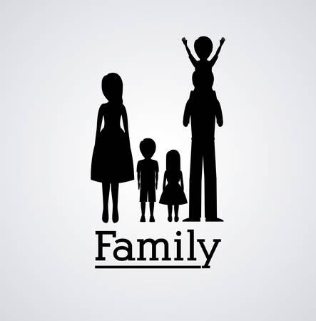 silhoutte: Family silhouette digital design, vector illustration   Illustration