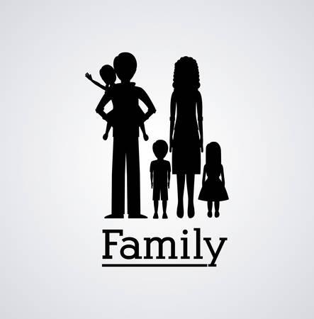 mom and son: Family silhouette digital design, vector illustration   Illustration