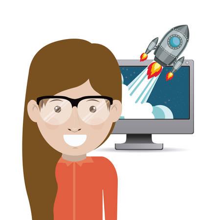 Start up concept: Entrepreneur icon design  向量圖像