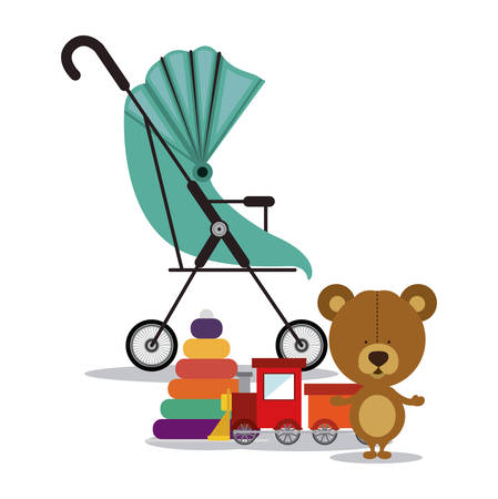 teddy bear background: Baby shower concept, welcome to the birth icons design