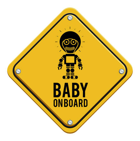 Yellow square baby  on board concept Illustration