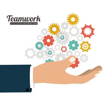 trabajo en equipo: El trabajo en equipo y el concepto de dise�o empresarios Vectores