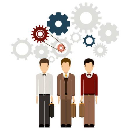 empleados trabajando: El trabajo en equipo y el concepto de diseño empresarios Vectores