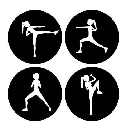 aerobics class: Bodycombat concept with avatar design