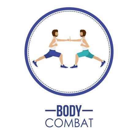 aerobics class: Bodycombat concept with avatar design, vector illustration eps 10