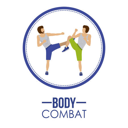 aerobics class: Bodycombat concept with avatar design Illustration