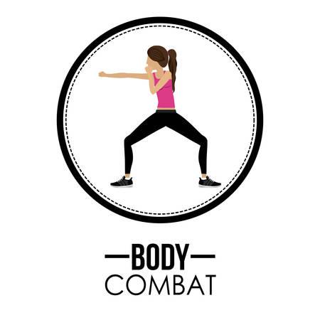 aerobics class: Bodycombat concept with avatar design Illustration