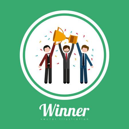ganador: Concepto del ganador con los iconos sobre el diseño de triunfo