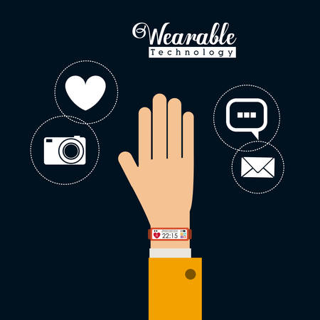 multimedia icons: Wearable technology concept with multimedia and aps icons design