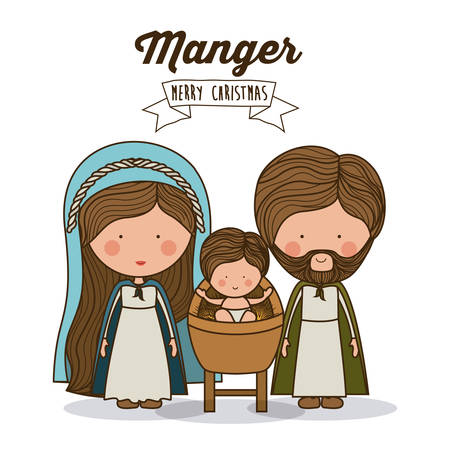 merry christmas: Merry Christmas concept about holy family design