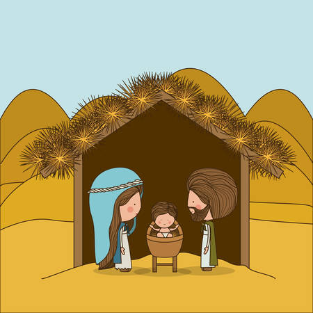holy family: Merry Christmas concept about holy family design