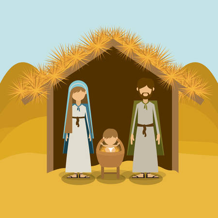 bethlehem christmas: Merry Christmas concept about holy family design