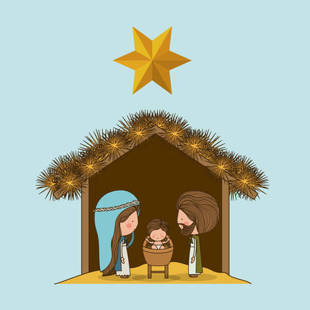 pesebre: Concepto Feliz Navidad para el acondicionamiento sagrada familia Vectores