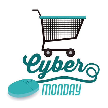 shopping cart online shop: Cyber Monday concept with ecommerce icons design