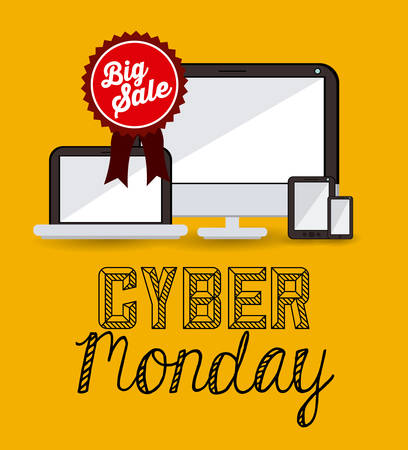 monday: Cyber Monday concept with ecommerce icons design