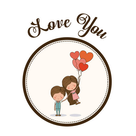 vector cartoons: Love concept with kid cartoons design, vector illustration eps 10 Illustration