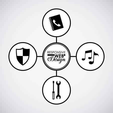 responsive design: Responsive web design concept with four icons design, vector illustration eps 10