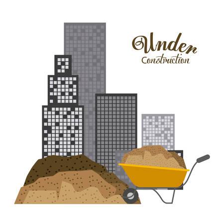 construction concept: Under construction concept with building design, vector illustration eps 10