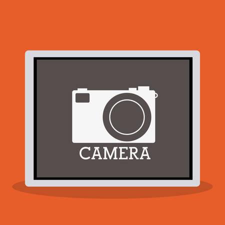 digicam: Camera icon concept over flat design, vector illustration
