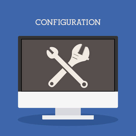 communicator: Configuration icon concept over flat design, vector illustration   Illustration