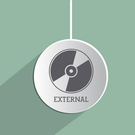 external: Cd External icon concept over flat design, vector illustration   Illustration