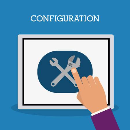 configuration: Configuration icon concept over flat design, vector illustration   Illustration
