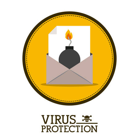 trajan: Cyber security concept about warning icon design, vector illustration