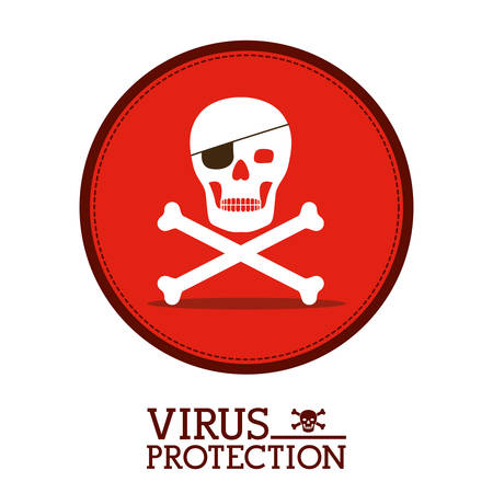 Cyber security concept about warning icon design, vector illustration   Illustration
