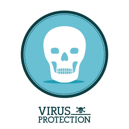 infected: Cyber security concept about warning icon design, vector illustration   Illustration