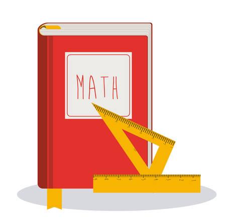 matematicas: Concepto de la educación acerca de nuevo a iconos de la escuela de diseño, ilustración vectorial