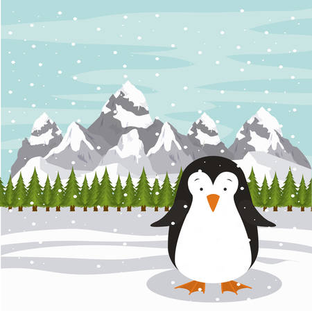 pinguin: Merry Christmas concept with cute animal design, vector illustration eps 10 Illustration