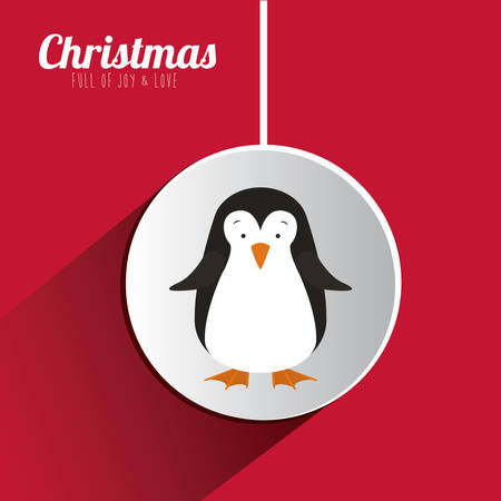 pinguin: Merry Christmas concept with decoration icons  design, vector illustration eps 10