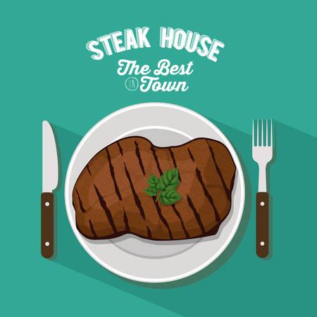 meat steak: Steak House concept with meat design, vector illustration eps 10 Illustration